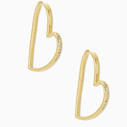 Kendra Scott Ansley Heart Hoop Earrings In Gold