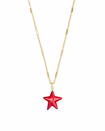 Carved Jae Star Gold Pendant Necklace In Red Mother-Of-Pearl