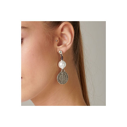 Uno de 50 Coin and Pearl Earring
