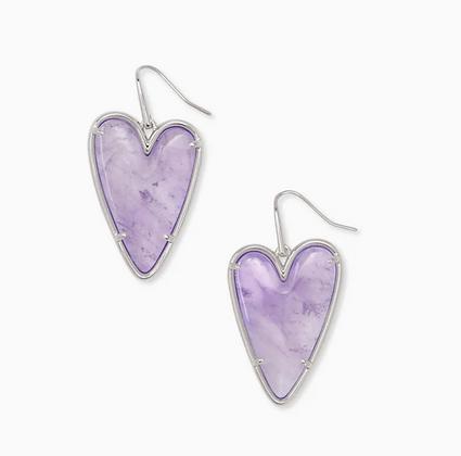 Ansley Heart Silver Drop Earrings In Amethyst
