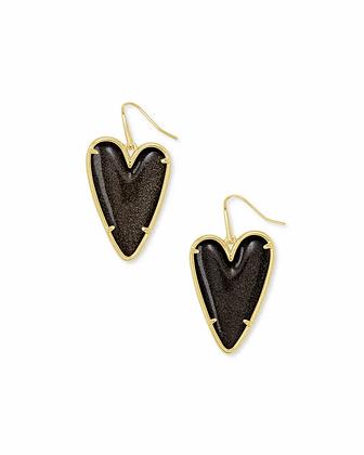 Kendra Scott Ansley Heart Gold Drop Earrings In Golden Obsidian