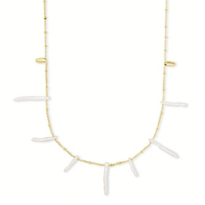 Eileen Gold Long Strand Necklace In White Pearl