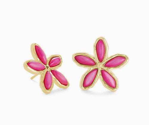 Kendra Scott Kyla Flower Gold Stud Earrings In Raspberry Rose