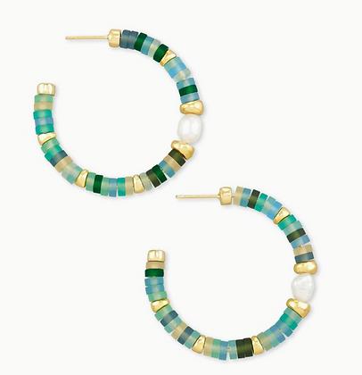 Lila Gold Hoop Earrings In Matte Sea Green Mix