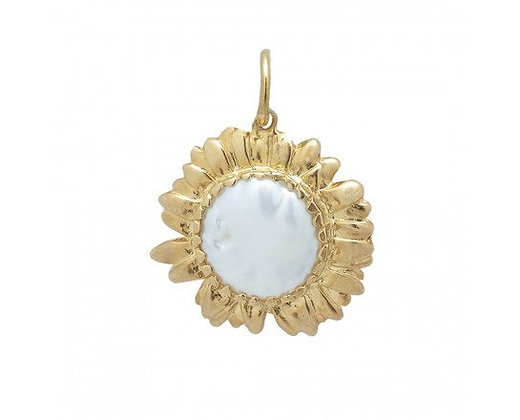 Waxing Poetic Golden Moon Daisy Charm - Freshwater Pearl & 18K Gold Plated