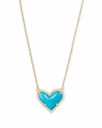 Kendra Scott Ari Heart Gold Pendant Necklace In Turquoise Magnesite