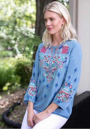 Multi Embroidery Bracelet Sleeve Henley Tunic