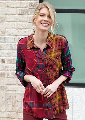 Sharon Young Plaid Blouse