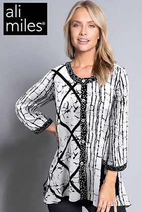 Black & White mixed media tunic