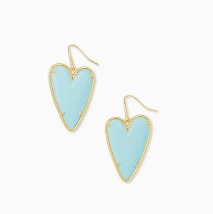 Ansley Heart Gold Drop Earrings In Light Blue Magnesite