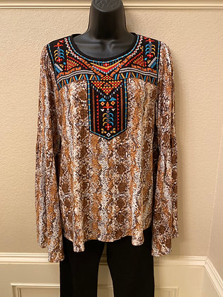 Aztec and reptile print embroidered top