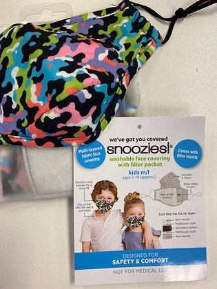 Snoozies Kids face mask multi camo