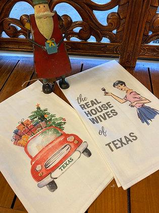 Christmas Texas license plate flour sack towel