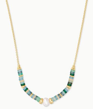 Lila Gold Strand Necklace In Matte Sea Green