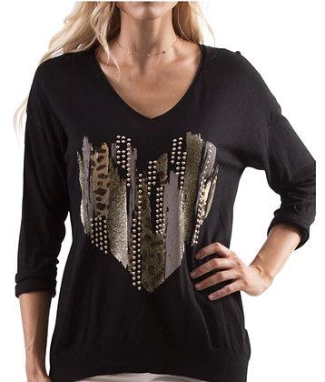 Studded Heart Lightweight Knit Sweater