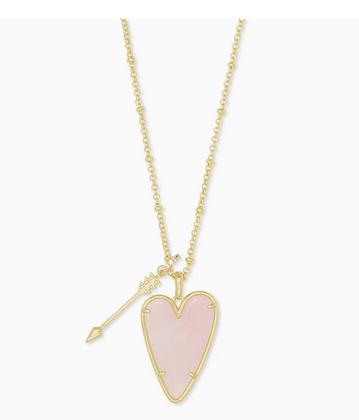 Ansley Heart Gold Long Pendant Necklace In Rose Quartz