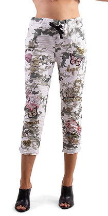 Butterfly camo pant white