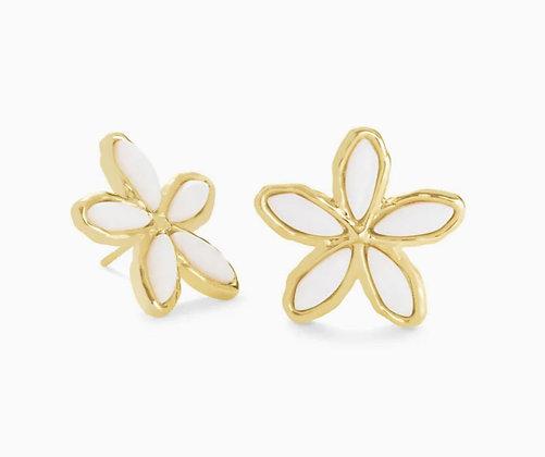 Kendra Scott Kyla Flower Gold Stud Earrings In White Mother Of Pearl