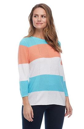 FDJ Textured Color Block Stripe  Sweater