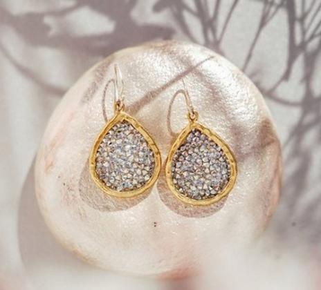 Waxing Poetic Kristal Teardrop Earrings - Brass