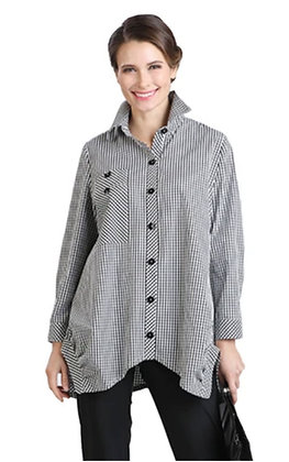 Gingham check top with buttons
