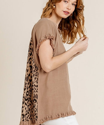 Linen blend top with animal print back