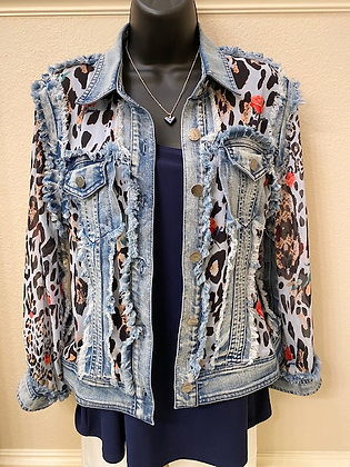 Denim jacket with leopard roses