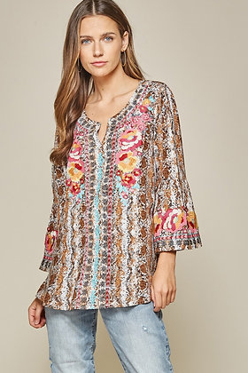 Retile print top with embroidery details