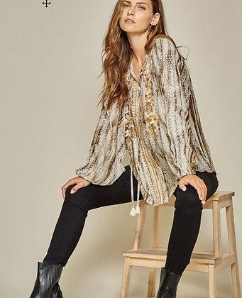 Embellished printed tunic