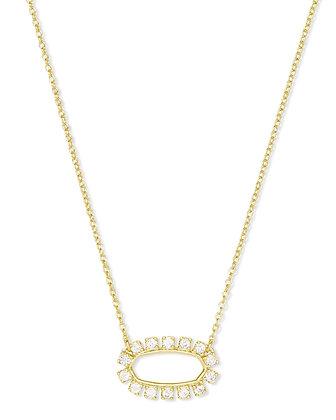 Elisa Open Frame Crystal Pendant Necklace In Gold