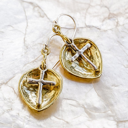 Lotus Cross Drop Earring