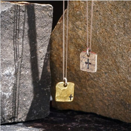Small cross tag necklace brass