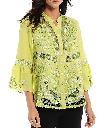 Ruffle Sleeve Embroidery & Crochet Button Front Linen Blouse