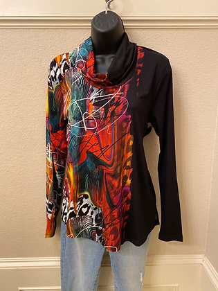 Cowl neck top abstract print