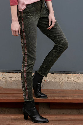 Green Leopard print jean with embroidery