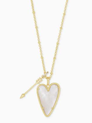 Ansley Heart Gold lLong Pendant Necklace In Ivory Mother-Of-Pearl