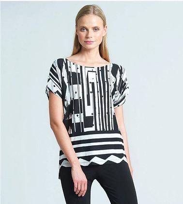Piano Stripe Print Light Knit Short Sleeve Top