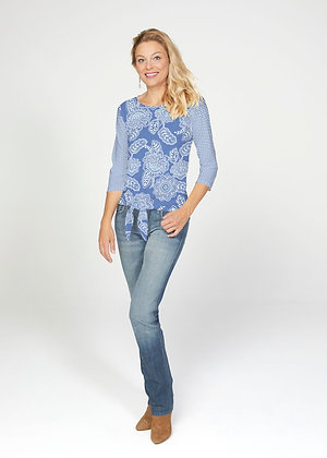 Floral Sunshine French Terry Tie 3/4 Sleeve Top