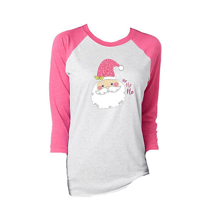 Ho Ho Ho Pink Santa 3/4 Tee