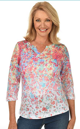 FDJ  Floral Burst Notch Knit Top
