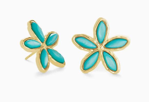 Kendra Scott Kyla Flower Gold Stud Earrings In Teal Mother Of Pearl