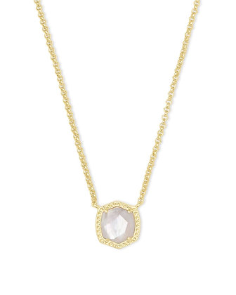 Davie Gold Pendant Necklace In Ivory Mother-Of-Pearl