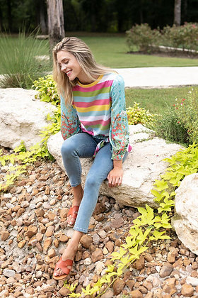 Striped Top with Floral Sleeves