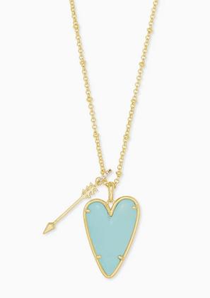 Ansley Heart Gold Long Pendant Necklace In Light Blue Magnesite