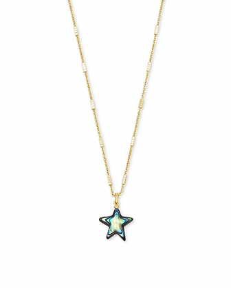 Carved Jae Star Gold Pendant Necklace In Abalone Shell