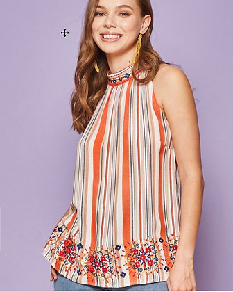 Orange multi stripe halter top.