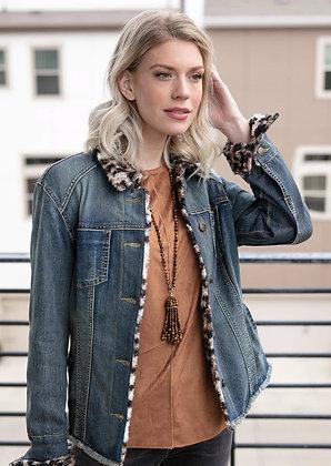 Denim jacket with faux fur trim
