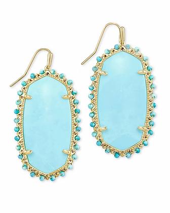 Kendra Scott Danielle Gold Beaded Statement Earrings In Light Blue Magnesite