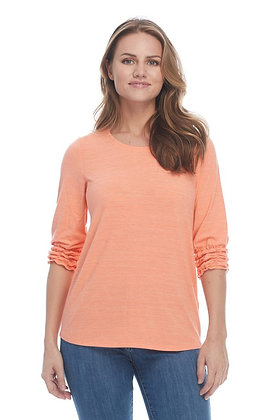 FDJ Crew Neck Top With Smocked Hem Sleeves