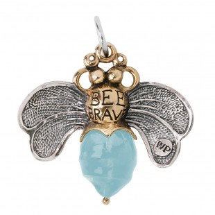 Waxing Poetic  Bee Brave Pendant - Sterling Silver, Brass & Aqua Resin